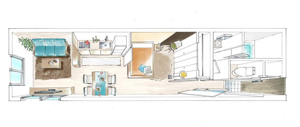 鳥瞰パース・グランデュオ下北沢2・105号室